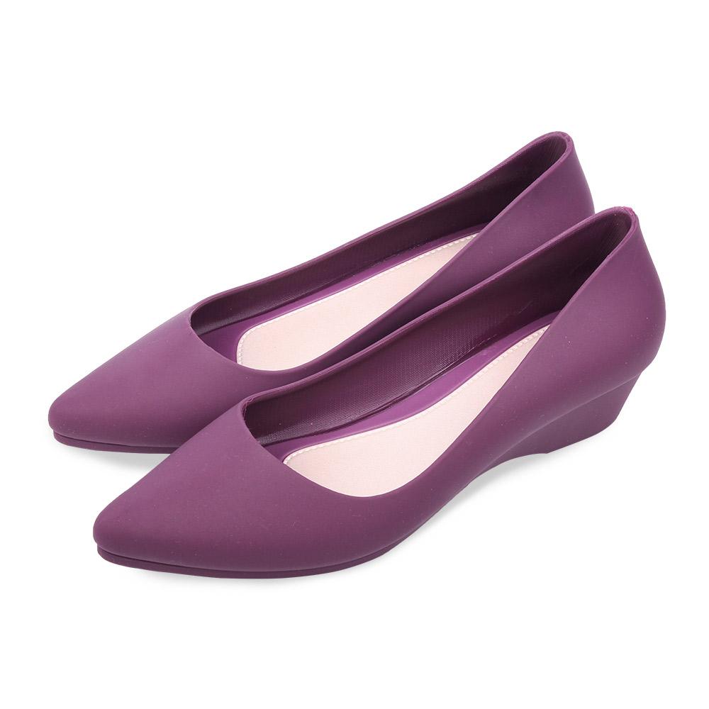TTSNAP雨鞋-晴雨兩用粉嫩低跟防水鞋 紫