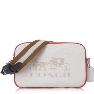 COACH 撞色 鵝卵石皮革 / 雙層相機 斜背包(大款/白色)