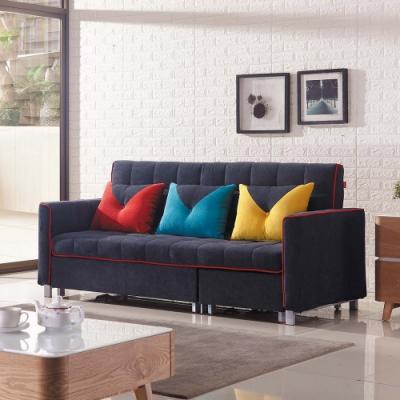 Boden-曼尼司藍灰色布沙發床/三人椅/三人座/L型(送抱枕)