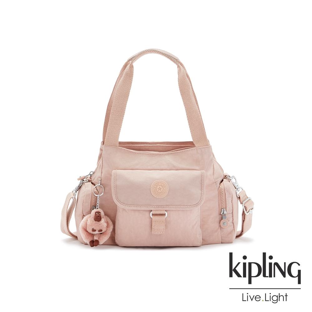Kipling 氣質玫瑰粉好收納手提兩用斜背包-EIRENE