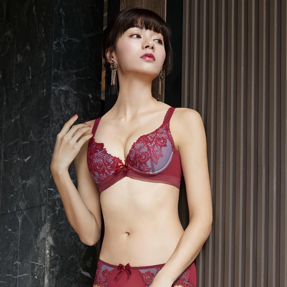 曼黛瑪璉 V極線內衣  B-E罩杯(沉穩紅)