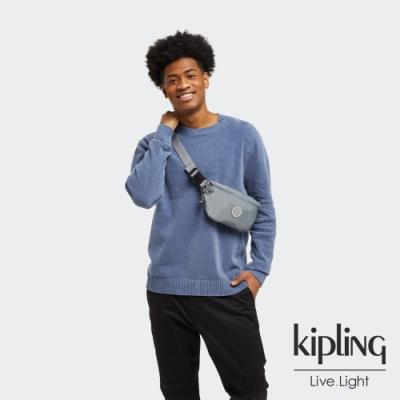 Kipling 個性淺灰藍拉鍊休閒斜背包-NEW FRESH