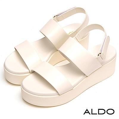 ALDO 原色寬版幾何繫帶魔鬼氈式厚底涼鞋~氣質白色