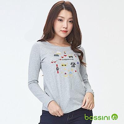 bossini女裝-印花長袖T恤11淺灰