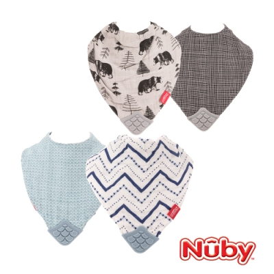 Nuby 紗布咬咬兜-瑞典熊/三角曲線(2入)