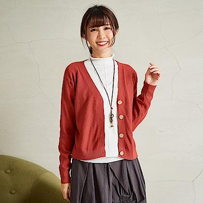 慢 生活 織面紋理開扣針織衫-紅色