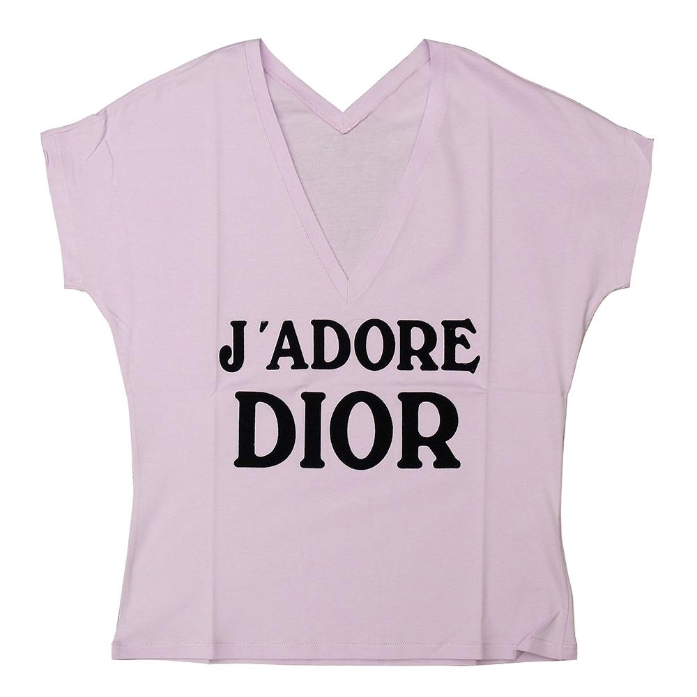 Dior 經典印花LOGO字母印花設計純棉T-shirt(女/粉紫)