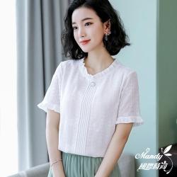 Mandy國際時尚 短袖上衣 素雅木耳邊蕾絲雪紡上衣 _預購【韓國服飾】