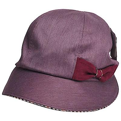 DAKS 日本製抗UV科技纖維格紋蝴蝶結遮陽帽(酒紅色)