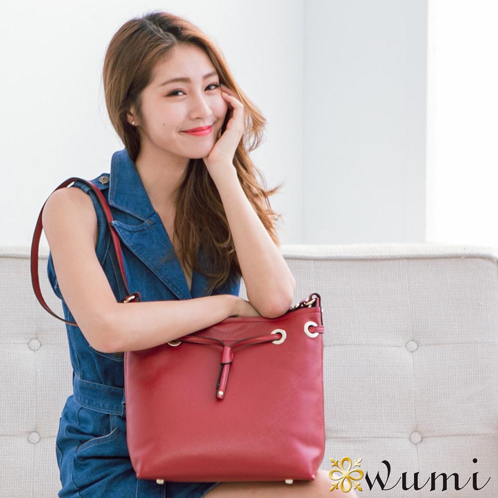 WuMi 無米  洛米娜十字紋束口水桶包  嬌貴紅