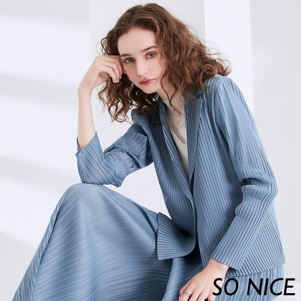 SO NICE 時尚壓褶西裝外套