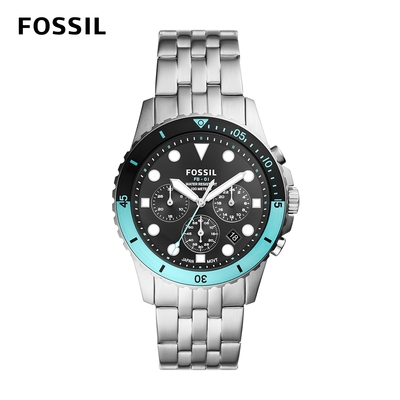 FOSSIL FB-01 chrono 雙色錶框三眼計時手錶 銀色不鏽鋼鍊帶 42MM FS5827