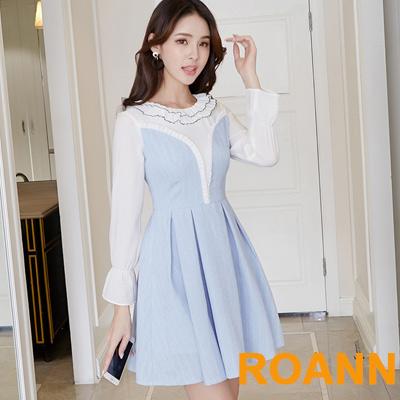 花邊圓領撞色拼接喇叭袖洋裝 (藍色)-ROANN