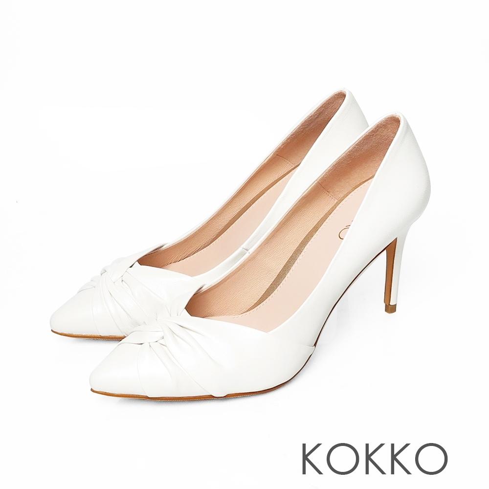 KOKKO極致迷人綿羊皮尖頭抓皺細高跟鞋椰奶白