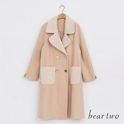 beartwo 貴氣毛領貂毛大衣外套(二色)