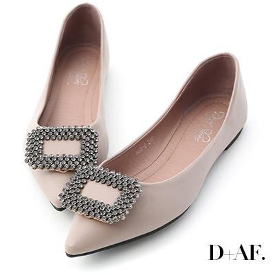 D+AF 華麗氣息.方形鑽飾尖頭平底鞋*紫