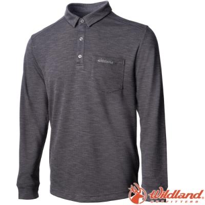 Wildland 荒野 0A72606-90灰色 男雙色POLO長袖上衣