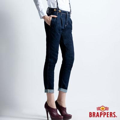 BRAPPERS 女款 BoyFirend系列-女用燈籠3D八分吊帶反摺褲-藍