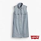 Levis 連身牛仔洋裝 長版襯衫 無袖淺色丹寧 水洗刷白