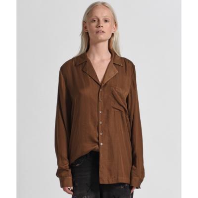 ONETEASPOON SILK SHIRT 棕 寬鬆V領襯衫-女