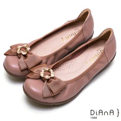 DIANA 真皮花朵蝴蝶結楔形娃娃鞋-俏麗甜心-珊瑚玫瑰