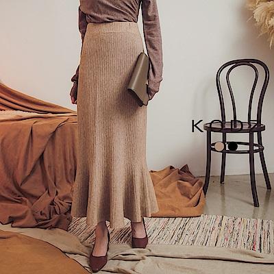 東京著衣-KODZ 溫柔歐膩彈力針織波浪魚尾裙(共二色)