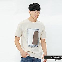 H:CONNECT 韓國品牌 男裝-圖像印字T-shirt-卡其