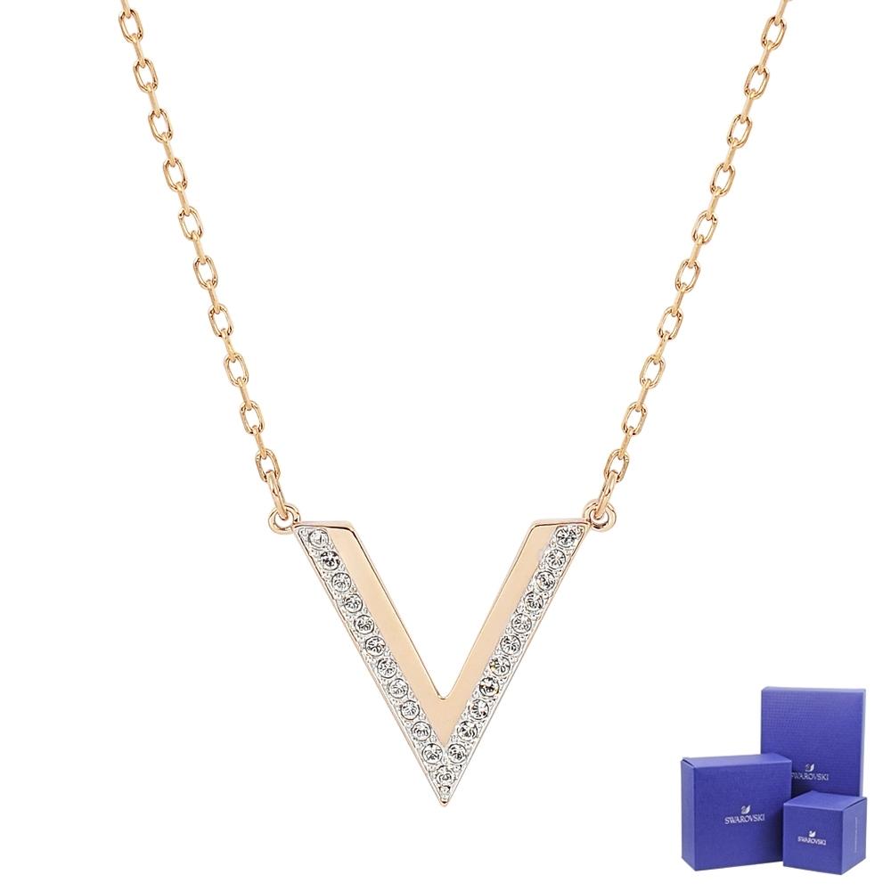 SWAROVSKI 施華洛世奇 DELTA璀璨水晶v字造型玫瑰金色項鍊
