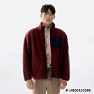 H UNDERSCORE 全新潮牌 男女裝 - 中性款車線剪裁厚款羊羔毛外套 - 紅色