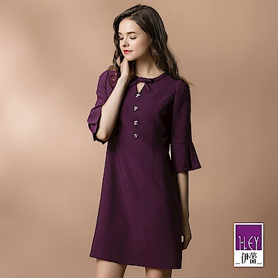 ILEY伊蕾 修身打摺荷葉五分袖洋裝(紫)