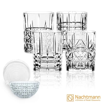 【Nachtmann】高地威士忌杯(4入)+巴莎諾瓦沙拉缽23cm含密封蓋(1入)