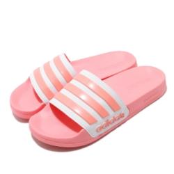 adidas 涼拖鞋 Adilette Shower 女鞋 愛迪達 輕便 夏日 套腳 簡約 粉 白 EG1886