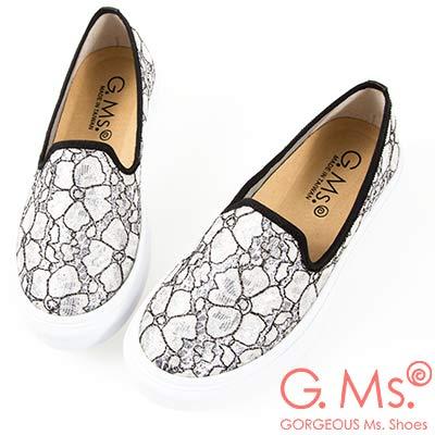 G.Ms. MIT系列-極輕量樂福懶人休閒鞋-蕾絲白