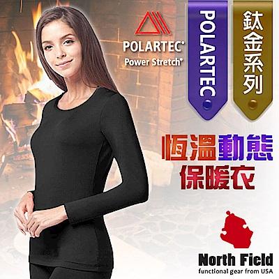 North Field 女 Polartec 圓領控溫強刷毛保暖衛生衣_黑色