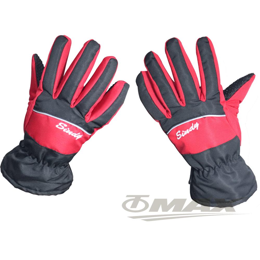 OMAX防風防水止滑手套-女款-黑紅色