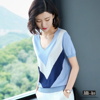 JILLI-KO V領配色冰絲針織衫- 藍