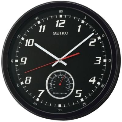SEIKO 日本精工 時鍾 掛鐘 溫度顯示-QXA696K-黑/35cm