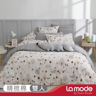 La mode寢飾 迷狐歷險記環保印染100%精梳棉兩用被床包組(雙人)