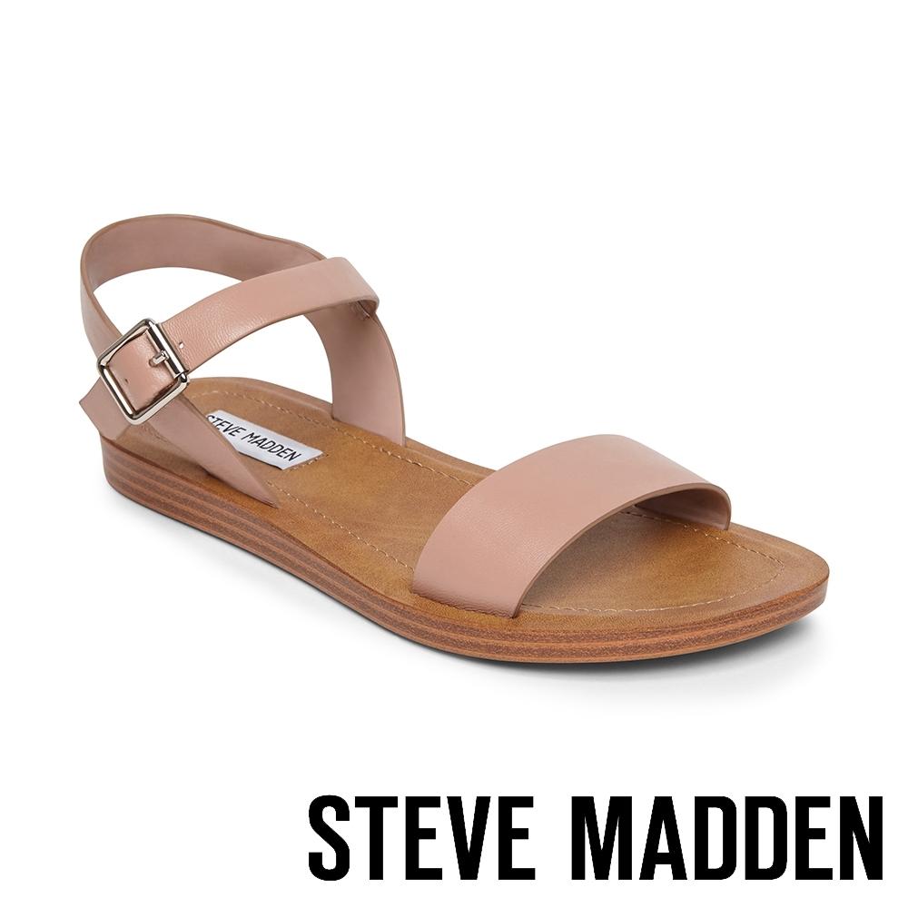 STEVE MADDEN-LEAGUE 搶眼一字帶繫帶低跟涼鞋-藕色