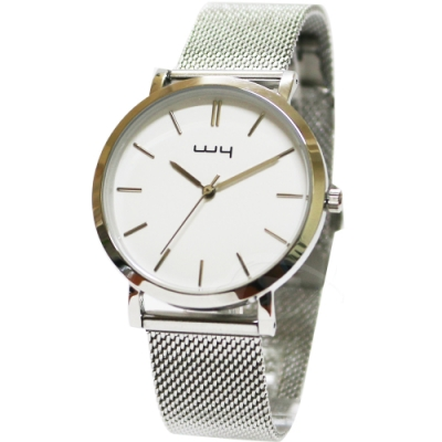 WY威亞簡約潮流米蘭銀帶中性錶-白色錶盤