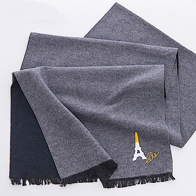 ELLE蠶絲拉絨工藝輕柔保暖2面雙色圍巾_灰/卡其