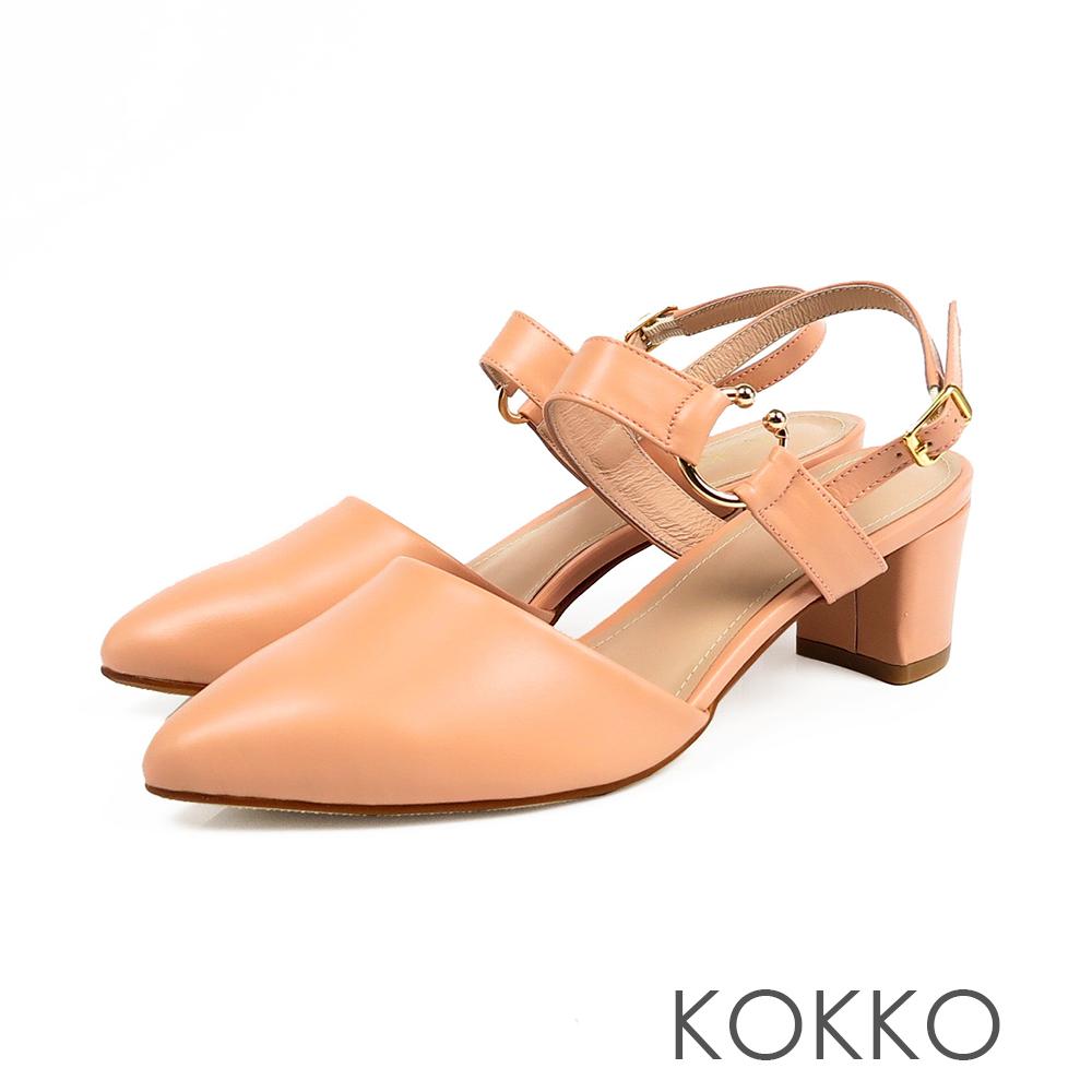 KOKKO - 法國香頌曲尖頭粗跟涼鞋-珊瑚橘