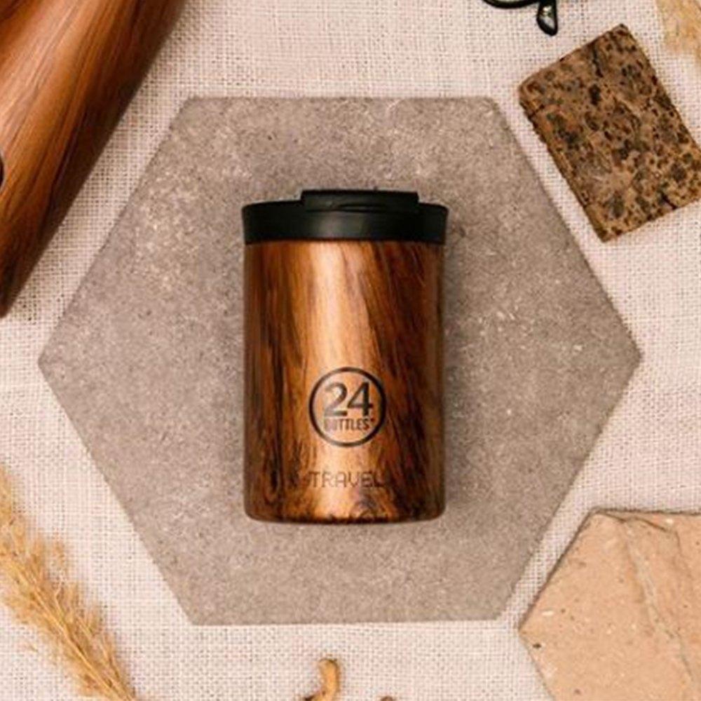 義大利24Bottles 保溫隨行杯 350ml - 紅杉木紋