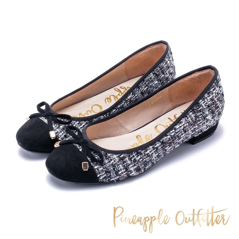 Pineapple Outfitter 時尚精品 格紋毛呢平底鞋-黑色