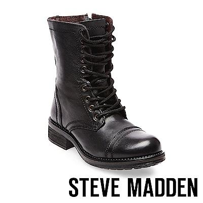 STEVE MADDEN-TROOPA 2.0經典中性軍靴款真皮高筒靴-黑色