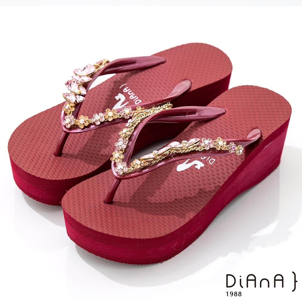 DIANA 6cm 進口波莉水鑽x高密度橡膠夾腳海攤拖鞋-豔夏時尚-紅
