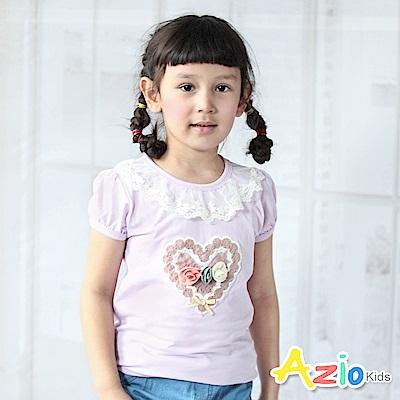 Azio Kids 上衣 立體玫瑰針織愛心花圈短袖上衣(紫)