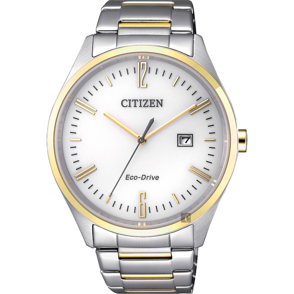 CITIZEN 星辰 Eco-Drive 光動能時尚手錶-白x金/42mm BM7354-85A