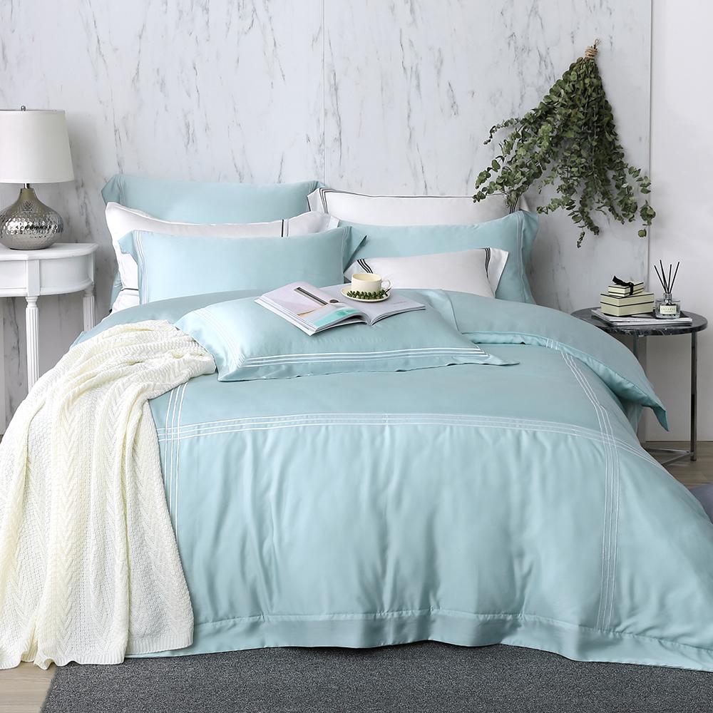 OLIVIA  松石綠  300織天絲萊賽爾 標準雙人床包歐式枕套組