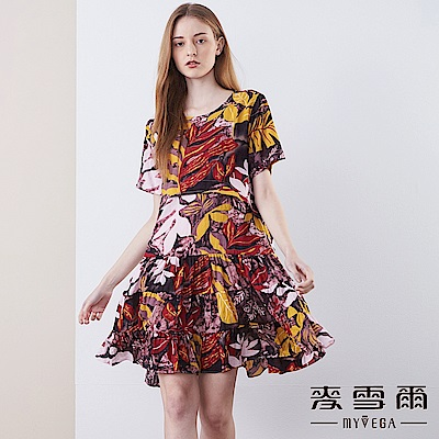 【麥雪爾】純棉叢林印花傘狀洋裝